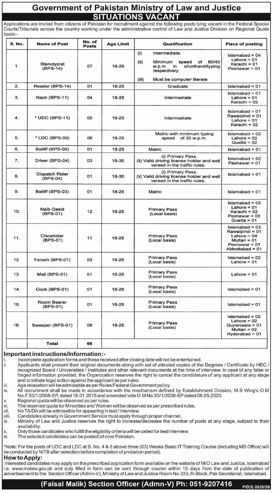 Federal Special Courts & Tribunals Jobs 2020 for Stenotypist, Reader, Nazir, UDC, Upper Division Clerk, Clerk, LDC, Lower Division Clerk, Bailiff, Driver, LTV Driver and more