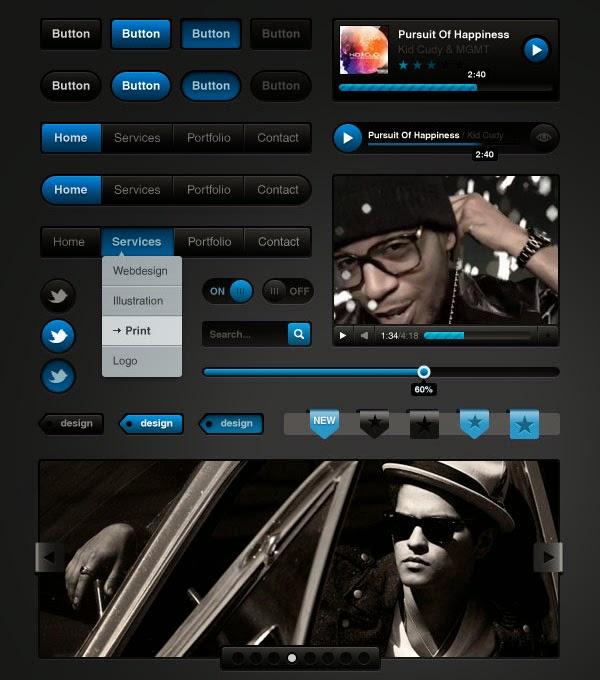 Free download: Media Black UI Kit