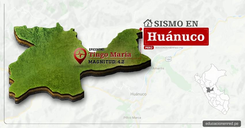Temblor en Huánuco de 4.2 Grados (Hoy Miércoles 15 Marzo 2017) Sismo EPICENTRO Tingo María - Aucayacu - José Crespo y Castillo - Leoncio Prado - IGP - www.igp.gob.pe