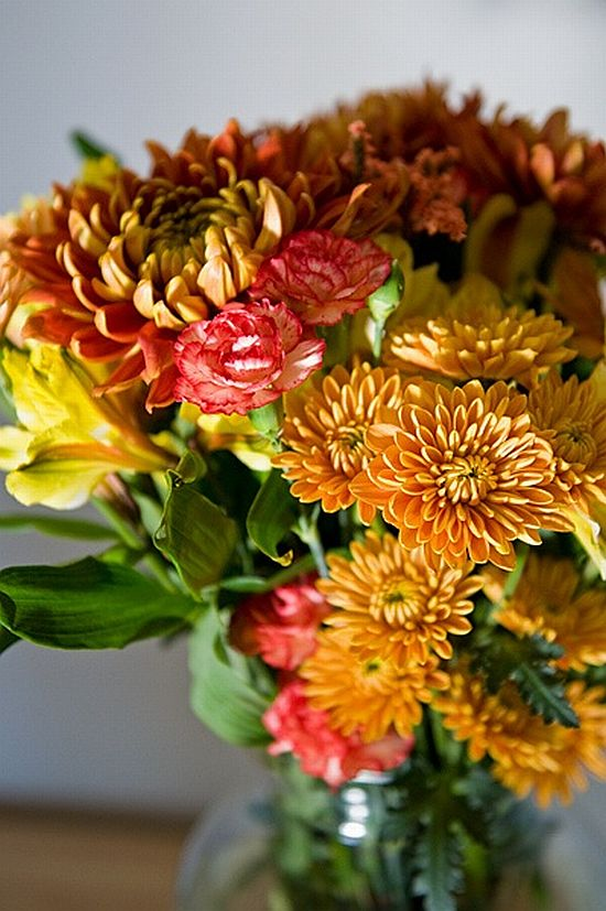 amazing fall yellow and red flower bouquet