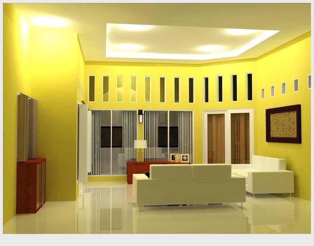 19 contoh kombinasi warna cat plafon ruang tamu yang