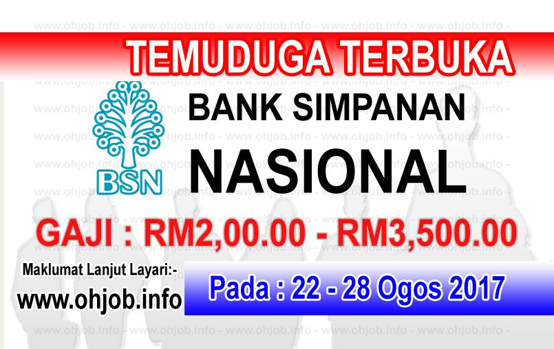 JawatanKerja Kosong Bank Simpanan Nasional - BSN logo www.ohjob.info ogos 2017