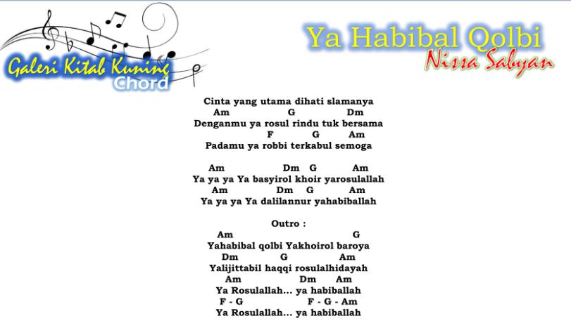 Lirik Dan Chrod Sholawat Ya Habibal Qolbi - Nissa Sabyan