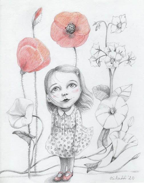 poetry illustration drawing poppy art Aira Kaal Kaks väikest habrast rukkimooni