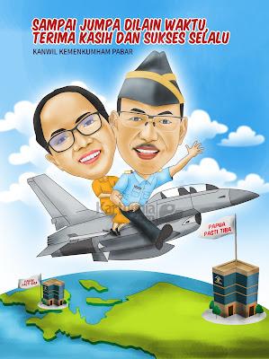 Karikatur Naik Pesawat Perpisahan Kepala Kanwil Kemenkumham Papua Barat
