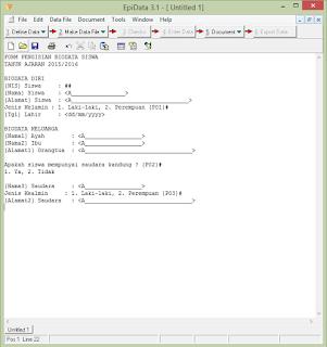 contoh template sederhana dengan EPI-Data