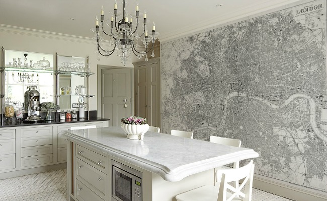 Wallpaper Murals Home Wall Decor Interiors White Kitchen with Crystal Chandelier
