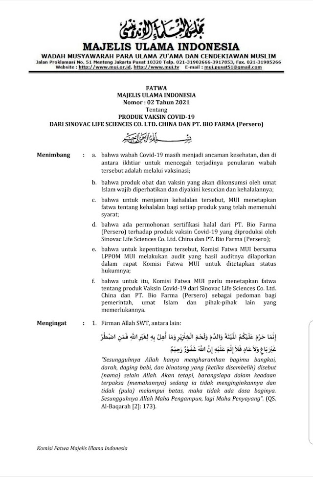Polda Banten  Sambut baik MUI Terbitkan Fatwa Halal Untuk Vaksin Sinovac