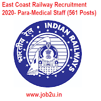 East Coast Railway Recruitment 2020- Para-Medical Staff (561 Posts)