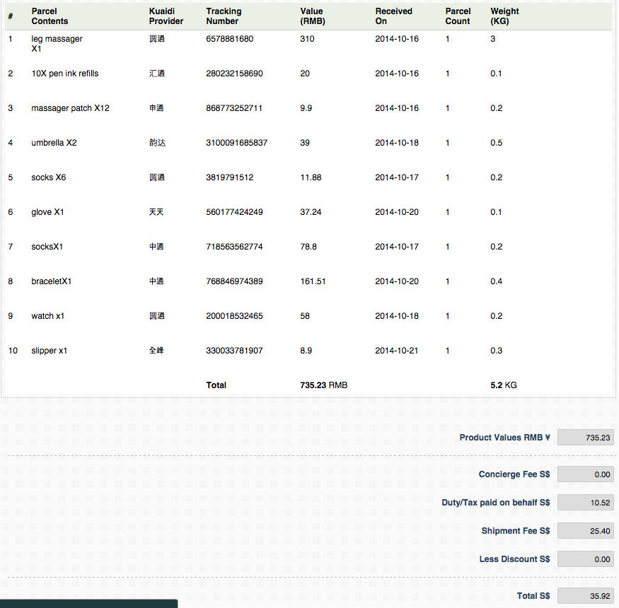 peeka singapore taobao shipping order invoice