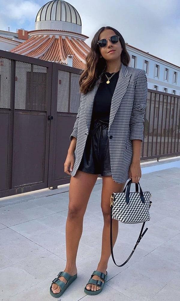 look com blazer e short com estampa  xadrez vichy