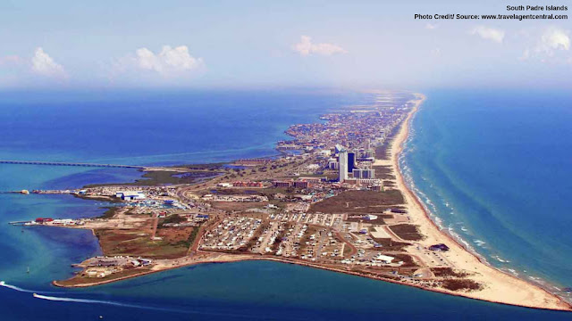 aerial view of the South Padre Islands and its surrounding waters