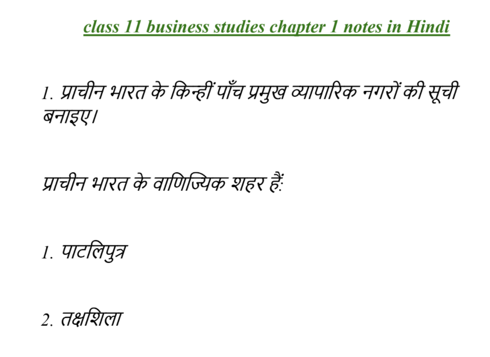 class 11 business studies chapter 1 notes in Hindi