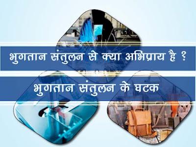 भुगतान संतुलन (शेष) से क्या अभिप्राय है ?  भुगतान संतुलन के घटक   Components of Balance of payments in Hindi