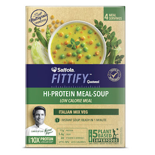 Saffola FITTIFY Gourmet Saffola FITTIFY Hi Protein Instant Soup with Multigrain Crunchies - Mexican Sweet Corn