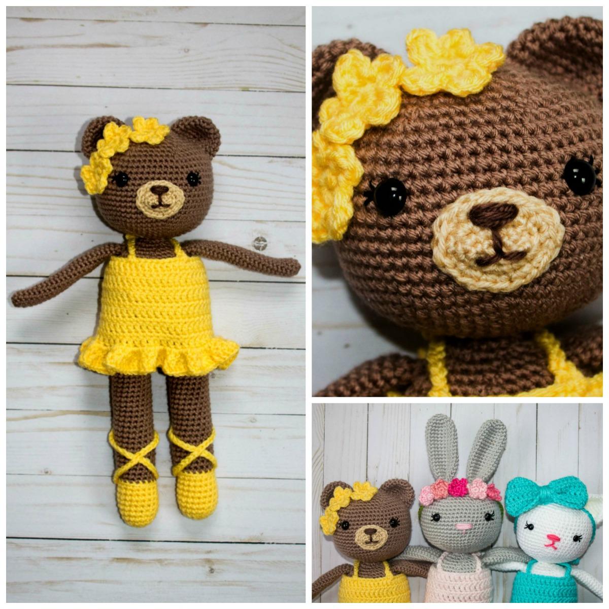 Free Crochet Bear Ballerina Pattern - thefriendlyredfox.com