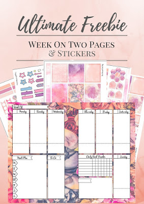 Free Floral Week On Two Pages And Stickers For Personal Agenda or Mini Happy Planner