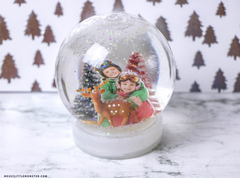DIY snow globe with pictures snow craft for kids