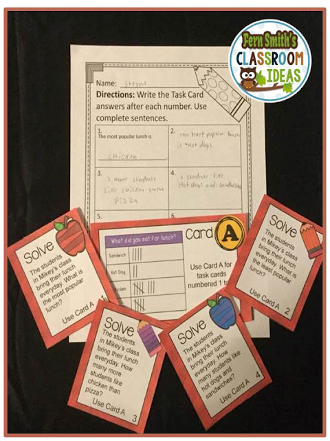 FREE Problem Solving and Using a Table to Organize Data Task Cards, Recording Sheet and Answer Key with a Cute Kid at School Theme at TeacherspayTeachers.
