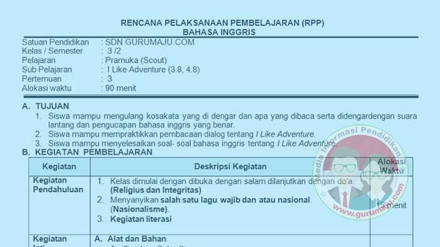 RPP Bahasa Inggris SD Kelas 3 Semester 2 K13 Revisi Terbaru