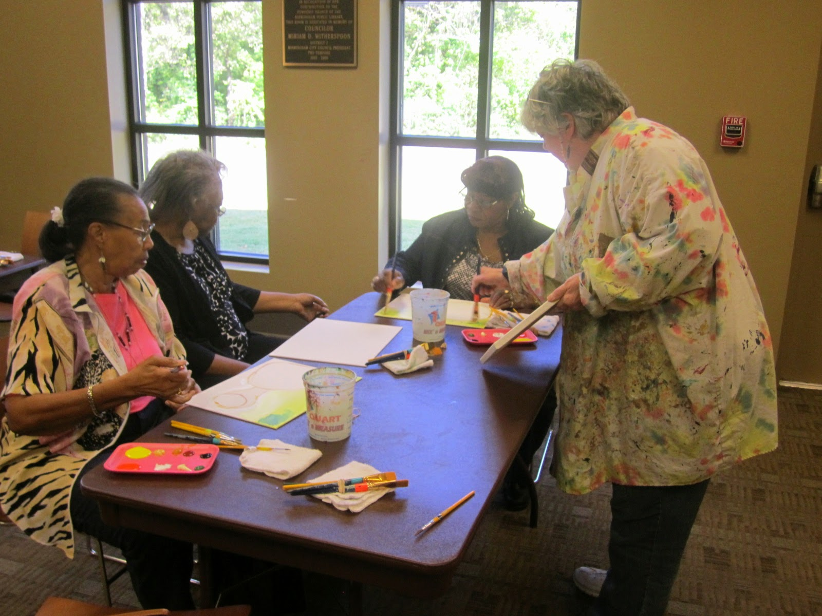 photo of patrons doing a craft