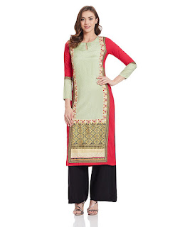 Red Multicolor W Kurta by FashionDiya