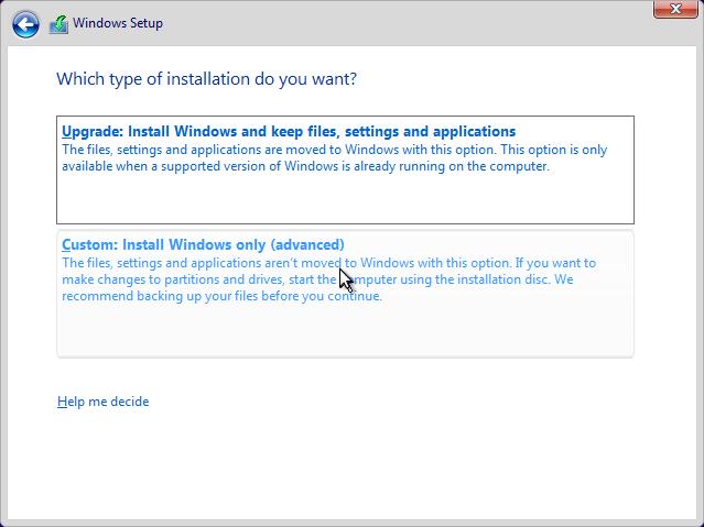 Install Windows 10 Upgrade dan Custom
