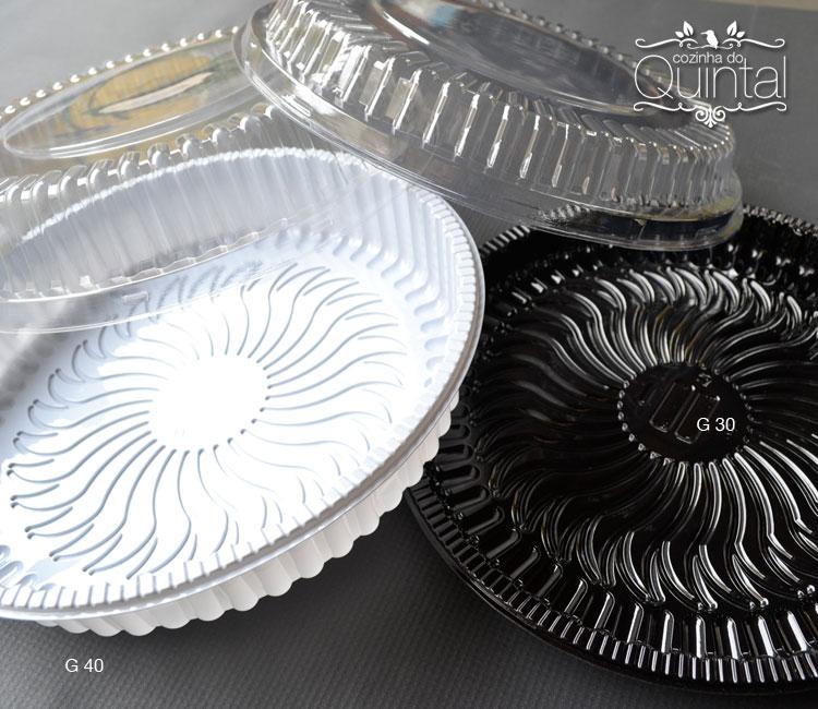 Embalagens para tortas e bolos. Olha a base preta que luxo! Da Galvanotek.