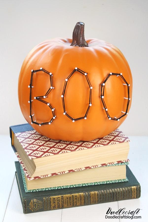 Make String Art Halloween pumpkins for decorations using craft pumpkins from Oriental Trading.