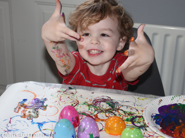 Plastic easter egg process art for toddlers and preschoolers