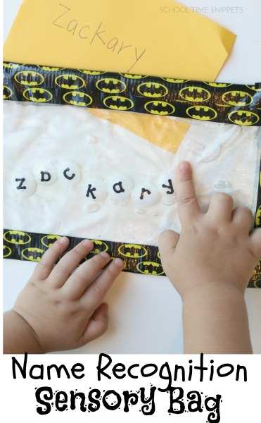 Create a no-mess, hands-on, and fun sensory bag exploring the letters in your child's name!
