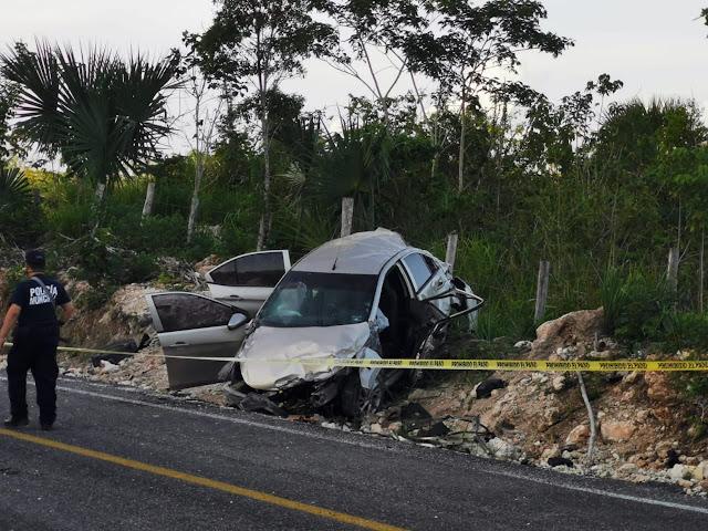 Accidente carretero del candidato aliancista de Bacalar, está grave; muere su esposa