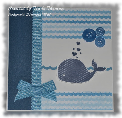 baby card, baby congratulations, Stamp with Trude, Stampin' Up!, Oh Whale