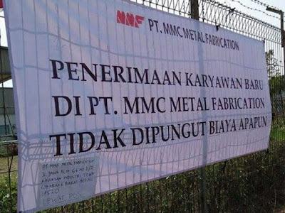 Lowongan PT MMC Metal Fabrication