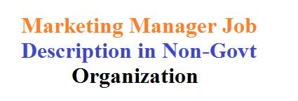 Marketing Manager Job Description in Non-Govt Organization