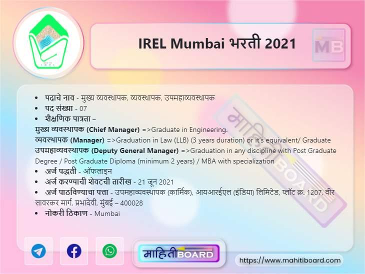 IREL Mumbai Bharti 2021