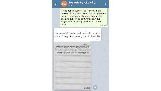 Di masa pandemi ini siswa   dituntut untuk belajar dan menggumpulkan tugas dari rumah Cara Menggunakan Bot Nulis Telegram 2021