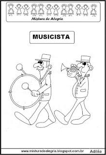 Desenho de musicista para colorir