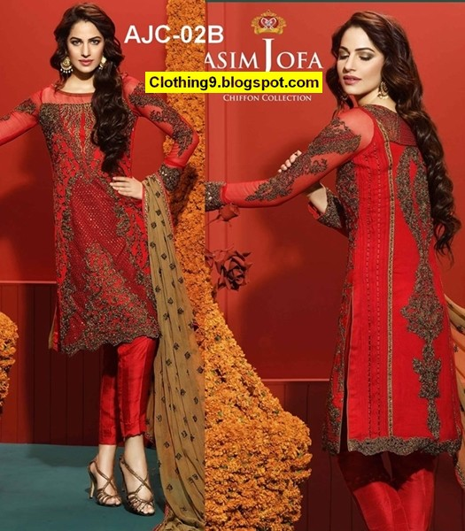 Asim Jofa Luxury Embroidered Chiffon 2016-2017 for Women