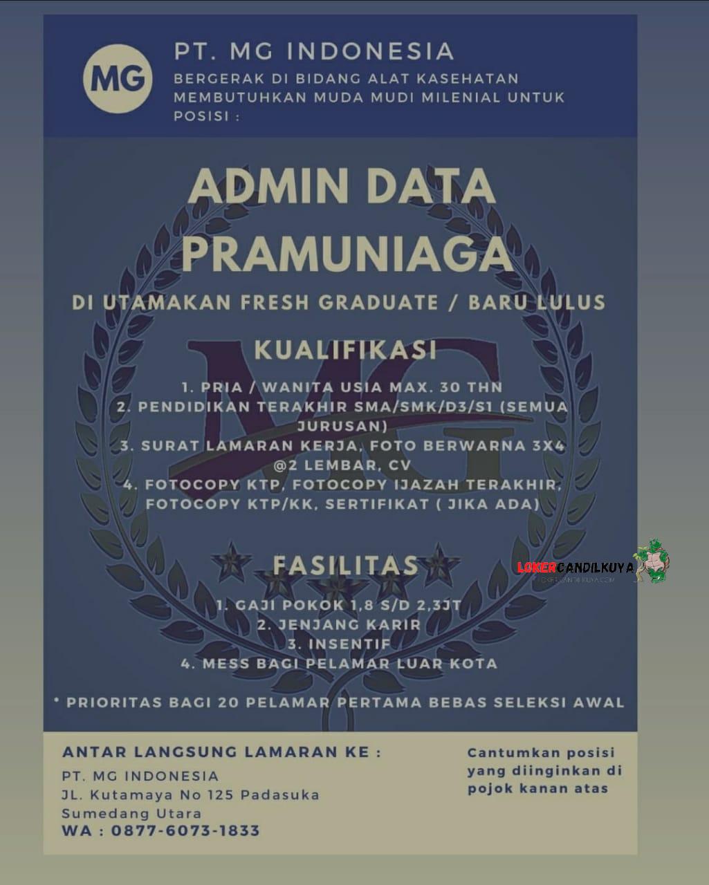 Lowogan Kerja PT. MG Indonesia