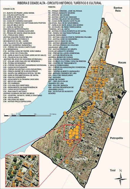 Mapa da região histórica de Natal