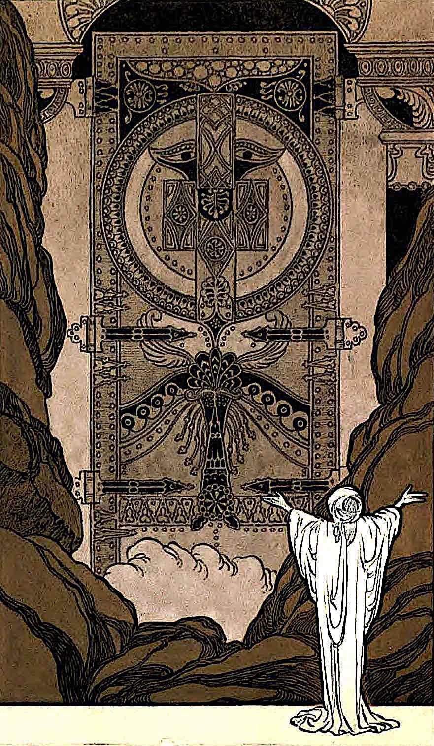 a Rene Bull illustration 1913, a figure summoning open giant gates