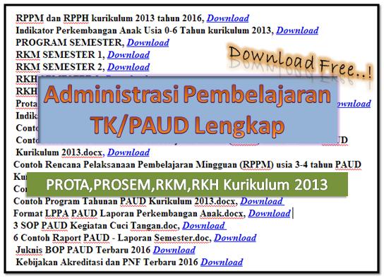 Download Contoh Administrasi TK/PAUD Lengkap | PROTA,PROSEM,RKM,RKH K-13