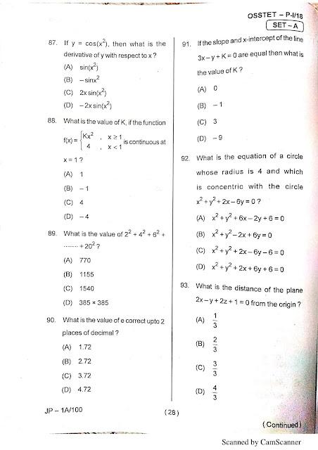 OSSTET Questions Paper Sample