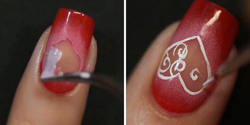 decorando a unha com esmalte vermelho