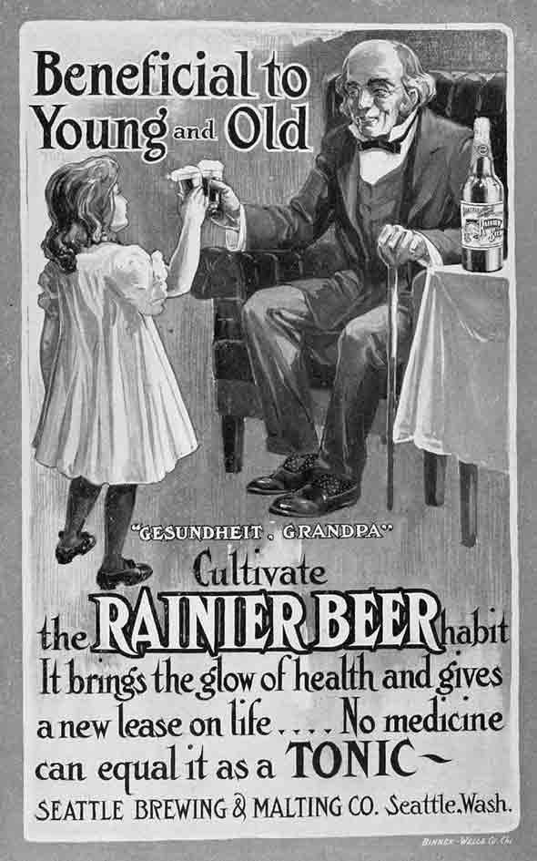 Propaganda da Cerveja Rainier com indicações de consumo para crianças e adultos.
