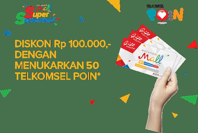 Cara Menukar 50 Telkomsel Poin dengan Voucher Rp 100.000 Mataharimall.com