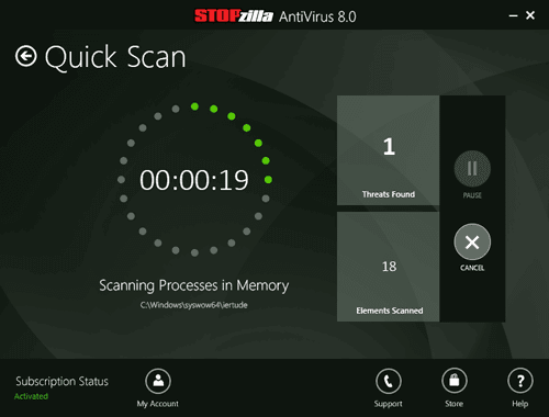 STOPzilla AntiVirus 8.0 Scan