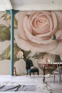 blommig tapet ros fototapet rosa fondtapet