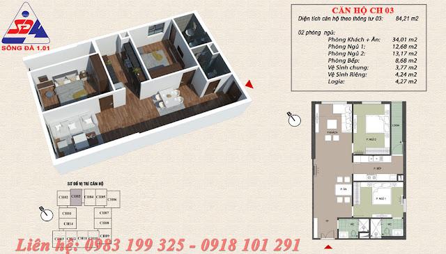 Thiết kế chung cư EcoGreen số 1 Giáp Nhị căn 03